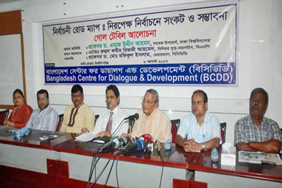 Prof Emajuddin Ahmed speaking at the discussion on 'The EC's roadmap and next election' organised by Bangladesh Centre for Dialogue and Development at the National Press Club in the city on Tuesday. — Collected