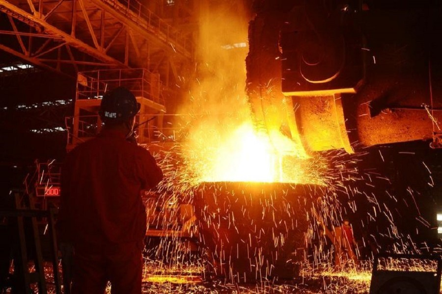 An employee works at a steel factory in Dalian, Liaoning Province, China, June 27, 2016. Reuters