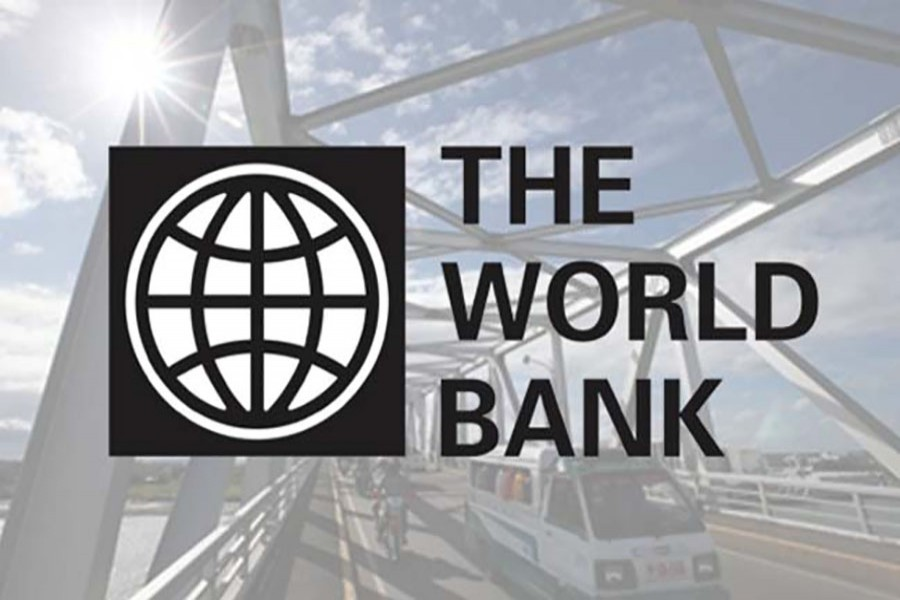 The logo of the World Bank is seen in this collected photo.