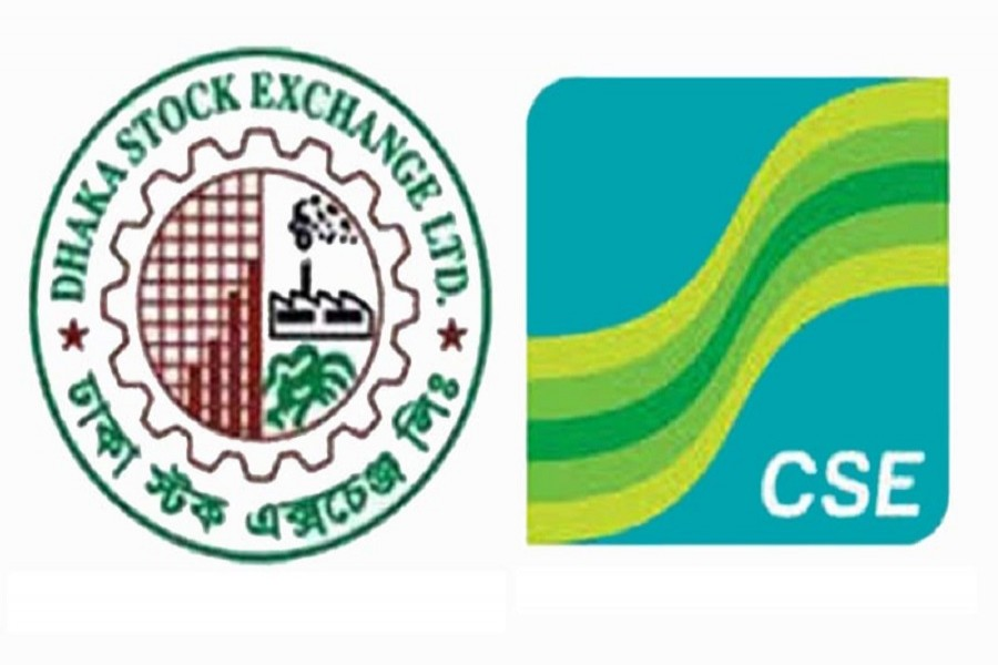 Logos of Dhaka and Chittagong stock exchanges are seen in this combination photo. File Photo