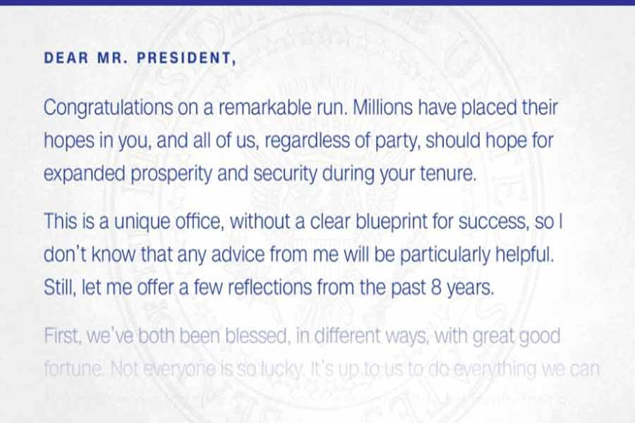 The letter Obama left for Trump upon leaving office