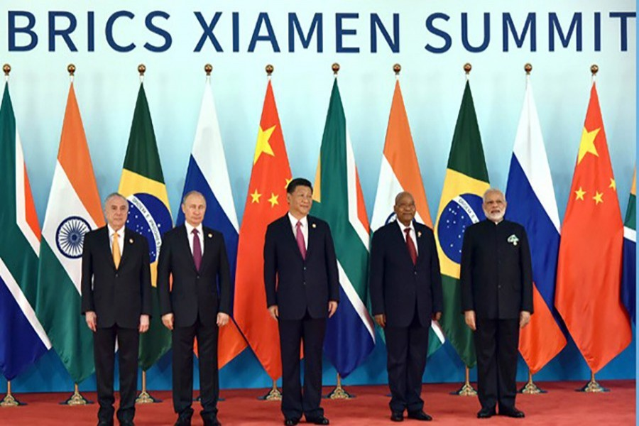 (From left to right) Brazil's President Michel Temer, Russian President Vladimir Putin, Chinese President Xi Jinping, South Africa's President Jacob Zuma and Indian PM Narendra Modi. - Collected