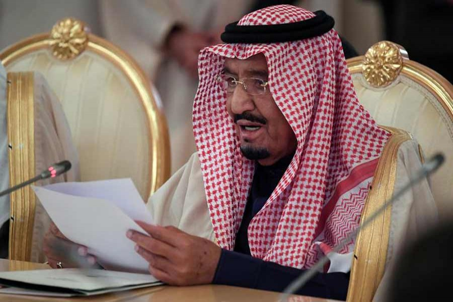 Saudi Arabia's King Salman attends a meeting with Russian President Vladimir Putin (not in the picture) in the Kremlin in Moscow, Russia Thursday. — Reuters