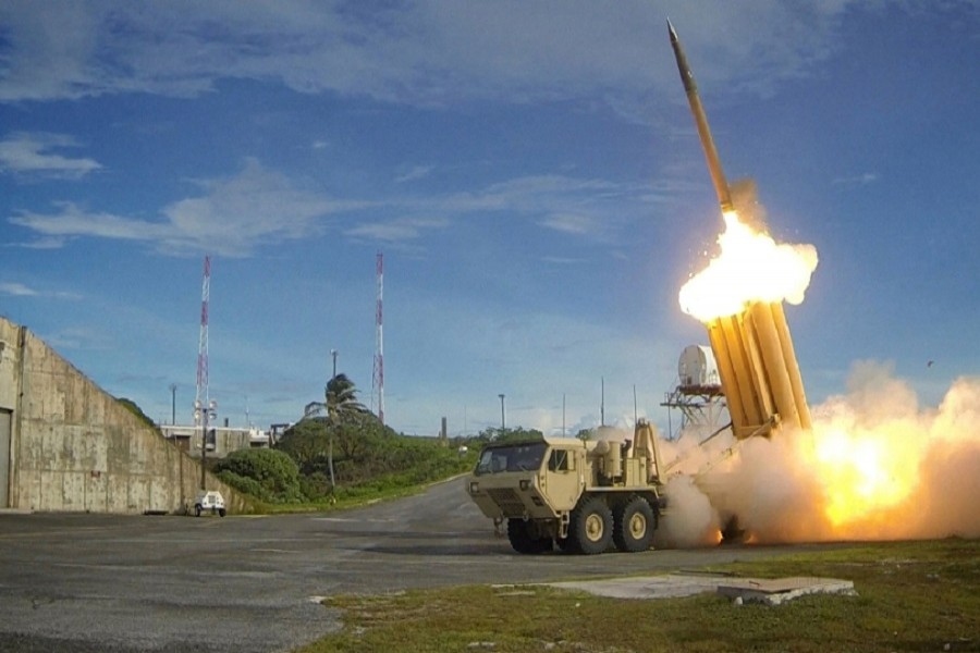 A Terminal High Altitude Area Defense (THAAD) interceptor is seen in this undated handout photo provided by the US Department of Defense, Missile Defense Agency. Reuters