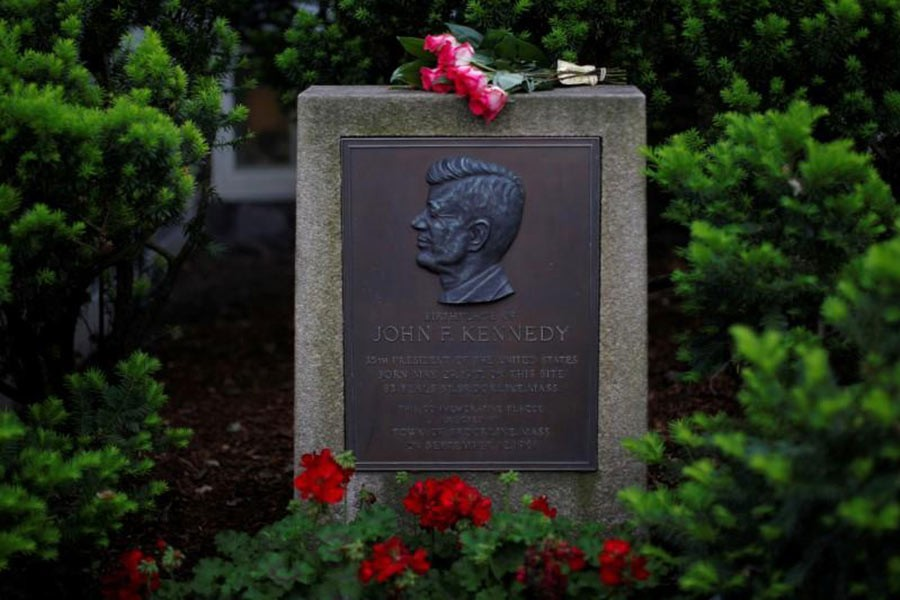 Roses lie on a marker outside the home where President John F. Kennedy was born 100 years ago on May 29, 1917, in Brookline, Massachusetts of US. -Reuters file photo