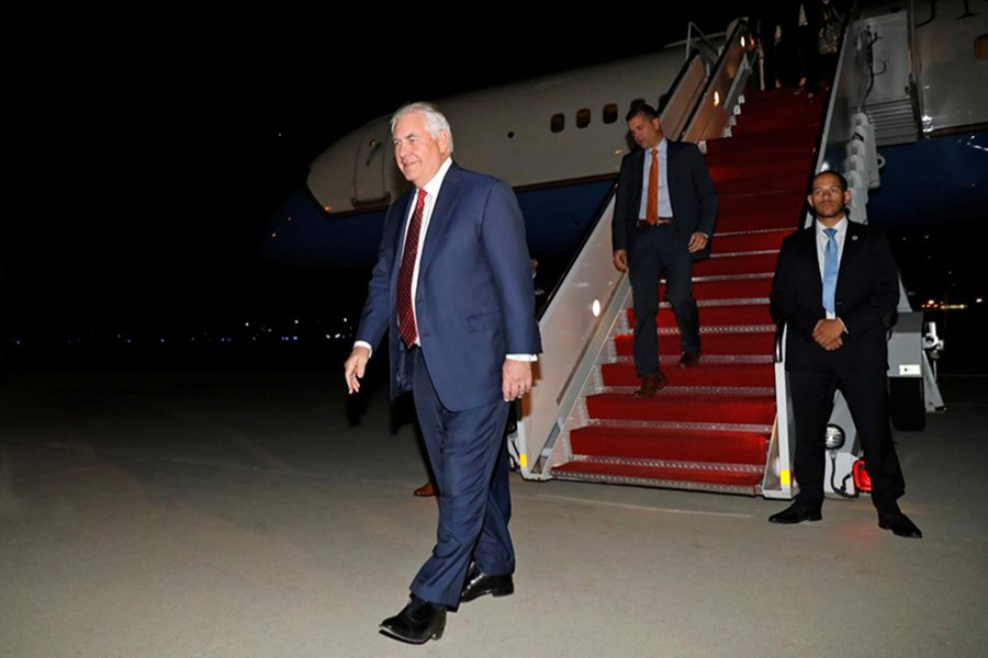 US Secretary of State Rex Tillerson arrives back at Joint Base Andrews in Maryland, US on Thursday. - Reuters photo