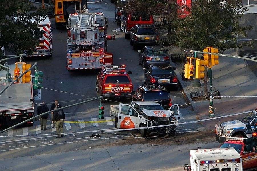 Emergency crews at the scene of the incident on West Street in lower Manhattan, New York, US on Tuesday. - Reuters photo