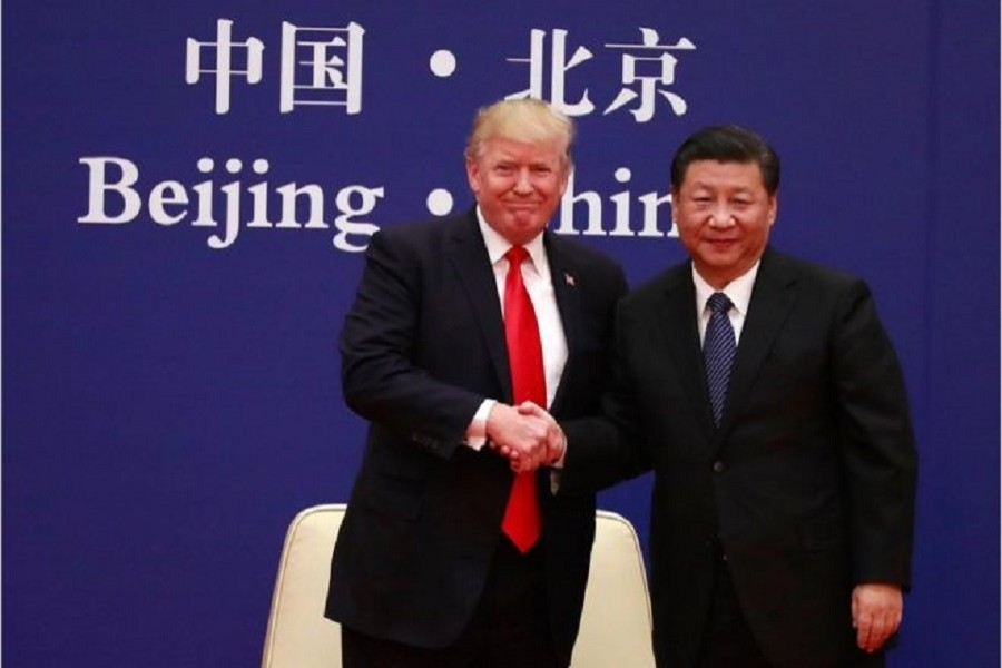 Mr Trump was effusive in his praise and thanks to Mr Xi. Photo: EPA/BBC