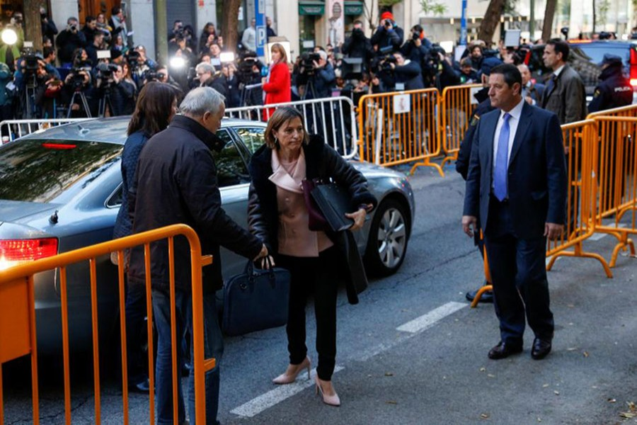 Speaker of Catalonia's sacked parliament Carme Forcadell arrives at the Supreme Court in Madrid on Thursday. - Reuters photo