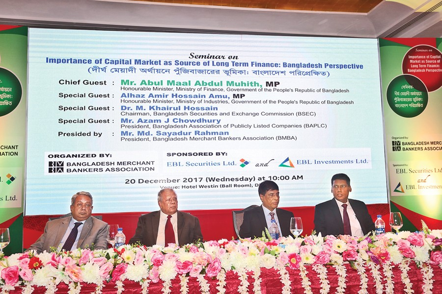 Guests seen in the seminar titled 'Importance of Capital Market as Source of Long Term Finance: Bangladesh Perspective', arranged by Bangladesh Merchant Bankers Association (BMBA)  Wednesday. — FE Photo