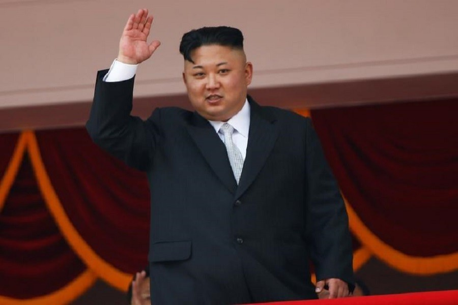North Korean leader Kim Jong Un waves to people attending a military parade marking the 105th birth anniversary of country's founding father, Kim Il Sung in Pyongyang, April 15, 2017. Reuters/ File Photo