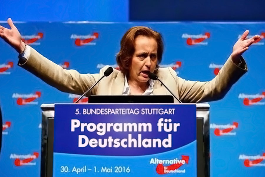Beatrix von Storch gestures as she speaks at the party congress of the anti-immigration party Alternative for Germany (AfD) on the second day in Stuttgart, Germany, May 1, 2016. (REUTERS)