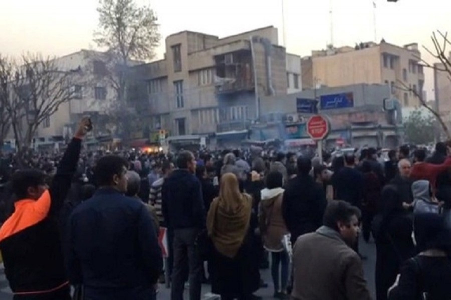 People protest near the University of Tehran, Iran December 30, 2017 in this picture obtained from social media. Reuters