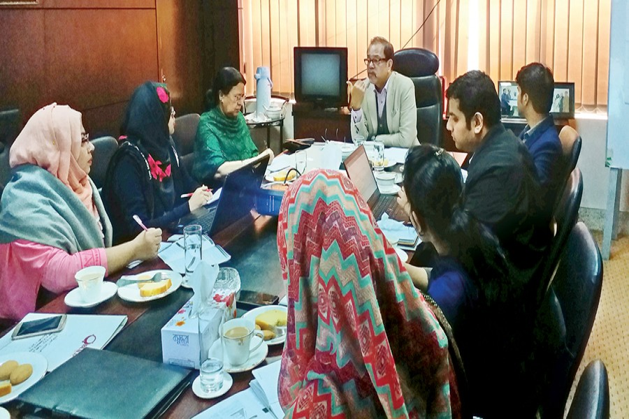 Md Saiful Islam, President of LFMEAB addressing the meeting held between BUILD (Business Initiative Leading Development and LFMEAB (Leathergoods and Footwear Manufacturers & Exporters Association of Bangladesh) at LFMEAB office in the city.