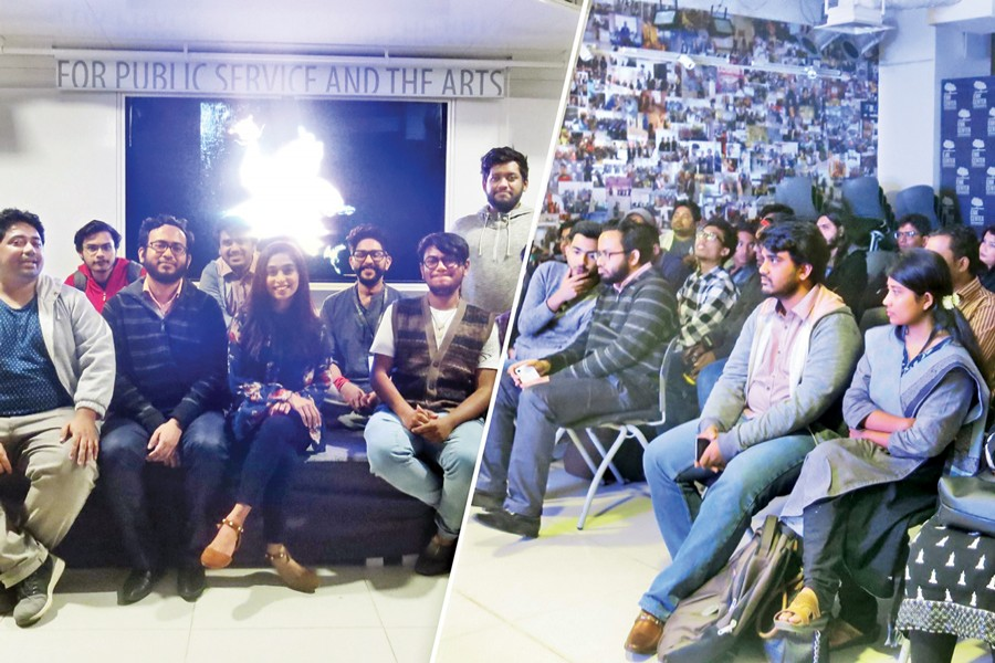 Organisers (left) and participants (right) at the event of Dhaka Noise Project 2017 held at EMK Centre, Dhaka