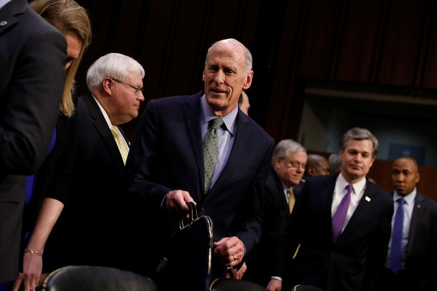 Director of National Intelligence (DNI) Dan Coats arrives to testify before the Senate Intelligence Committee on Capitol Hill in Washington, US. (Reuters)