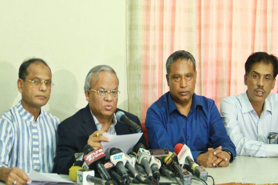 BNP Senior Joint Secretary General Ruhul Kabir Rizvi addressing a press conference at the party's Nayapaltan central office in the city on Friday. — Focus Bangla