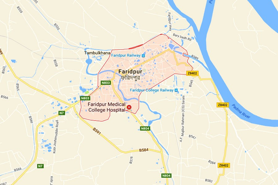 Google map showing Faridpur district