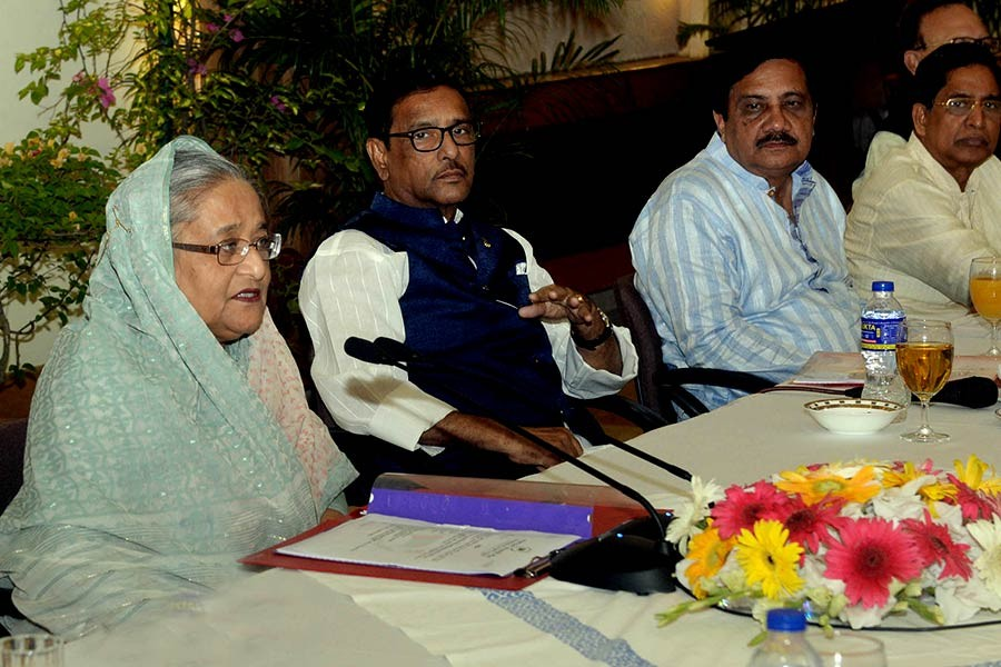 Prime Minister Sheikh Hasina delivering the inaugural speech at the Awami League Central Working Committee meeting at Ganabhaban on Saturday. -Focus Bangla Photo