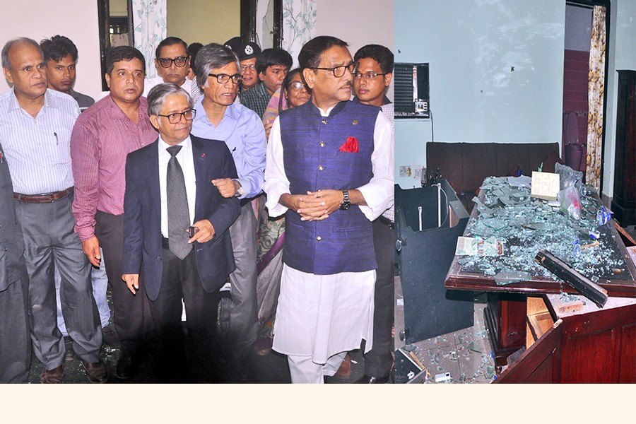 Awami League general secretary Obaidul Quader visiting the official residence of Dhaka University vice chancellor Prof Md Akhtaruzzaman after it was vandalised by some miscreants during the demonstration for reform in job quota system on Tuesday