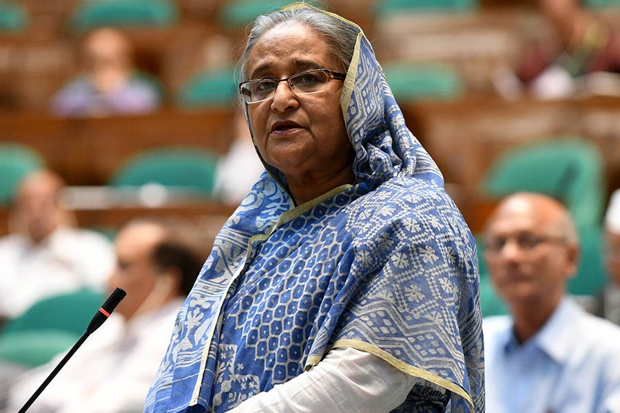 Prime Minister Sheikh Hasina replying a question from lawmakers on Wednesday in the parliament.  -Focus Bangla Photo