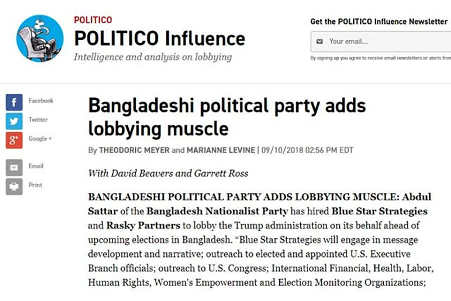 BNP appoints lobbying firm in US before elections