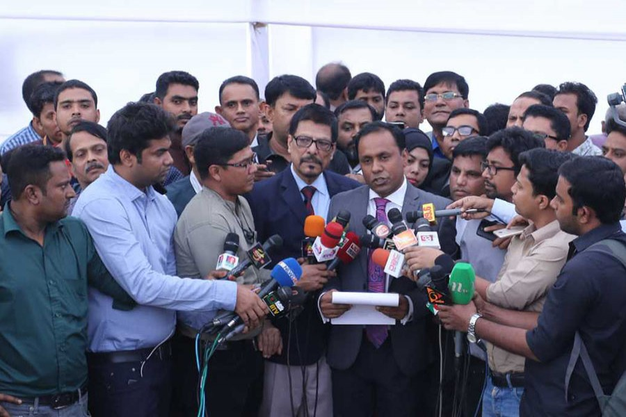 The lawyers of BNP chairperson Khaleda Zia talk to the reporters after filing appeals with the Election Commission against rejection of nomination papers of three constituencies on Wednesday, December 5, 2018. Photo: UNB