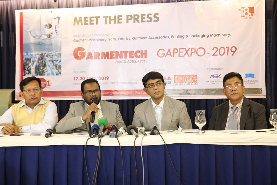 BGAPMEA Pesident Abdul Kader Khan speaks at a press conference at a hotel in Dhaka city on Monday to announce four days of as many trade shows scheduled to begin on January 17. FE Photo