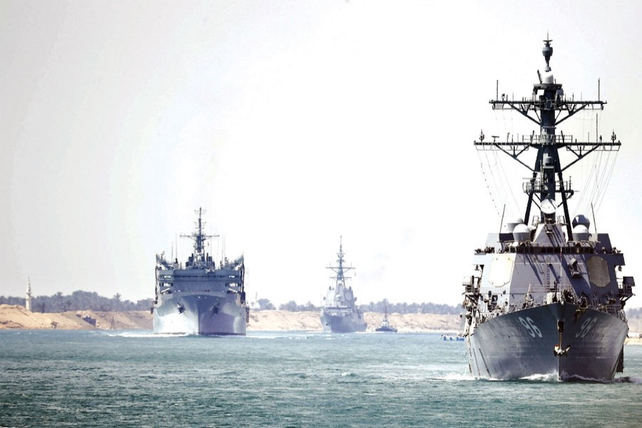 In this photo provided by the US Navy, the Abraham Lincoln Carrier Strike Group transits the Suez Canal on May 09, 2019.                     —Photo: Petty Officer 3rd Class Darion Chanelle Triplett/US Navy via AP