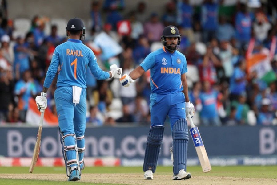 Cricket - ICC Cricket World Cup - Sri Lanka v India - Headingley, Leeds, Britain - July 6, 2019 India's Rohit Sharma and KL Rahul during the match Action Images via Reuters/Lee Smith