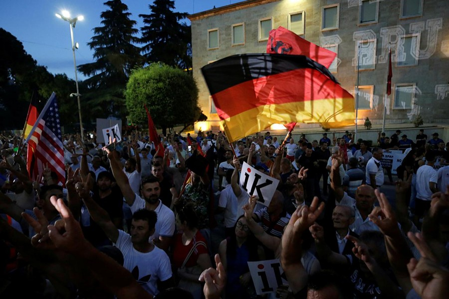 Supporters of the opposition party attend an anti-government protest in front of Prime Minister Edi Rama's office in Tirana, Albania,on July 8, 2019 — Reuters photo