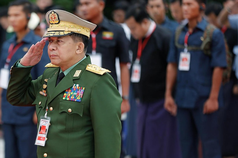 Myanmar's Commander in Chief Senior General Min Aung Hlaing salutes as he attends an event marking Martyrs' Day at Martyrs' Mausoleum in Yangon, Myanmar on July 19, 2018 — Reuters/Files