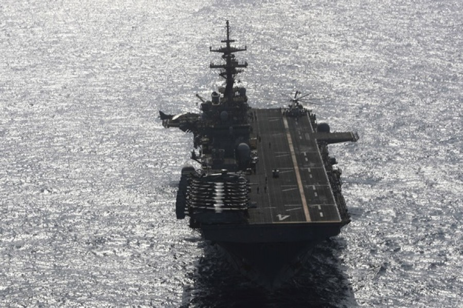 USS Boxer (LHD-4) ship sails in the Arabian Sea off Oman July 17, 2019. Reuters
