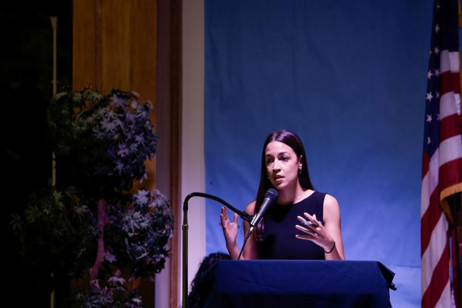 Representative Alexandria Ocasio-Cortez speaks during an Immigration Town Hall at The Nancy DeBenedittis Public School in Queens, New York, US, July 20, 2019. Reuters