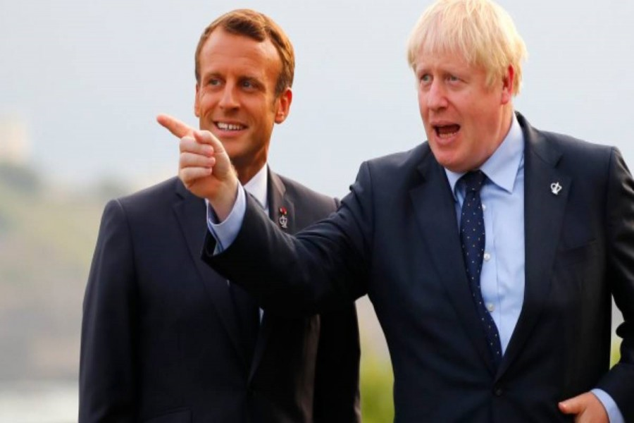 US President Donald Trump and Britain's Prime Minister Boris Johnson hold a bilateral meeting during the G7 summit in Biarritz, France, August 25, 2019. Reuters