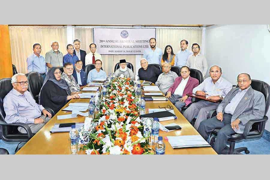 A view of the 20th annual general meeting for the fiscal year 2018-19 of the International Publications Limited (IPL), the owning company of The Financial Express (FE), held in the IPL board room in the city on Saturday. The meeting was presided over by IPL Chairman Mahbubur Rahman (seated, sixth from left) — FE photo