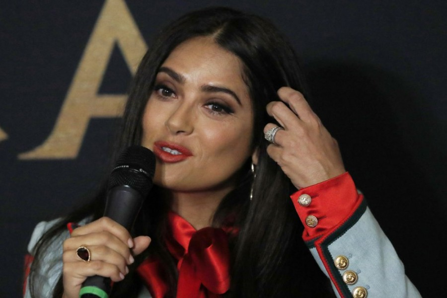 """Mexican actress and producer Salma Hayek gives a news conference to promote her new film """"Monarca"""" in Mexico City, Tuesday, Sept. 10, 2019. Salma is a native of Veracruz, Mexico. (AP Photo/Marco Ugarte)"""