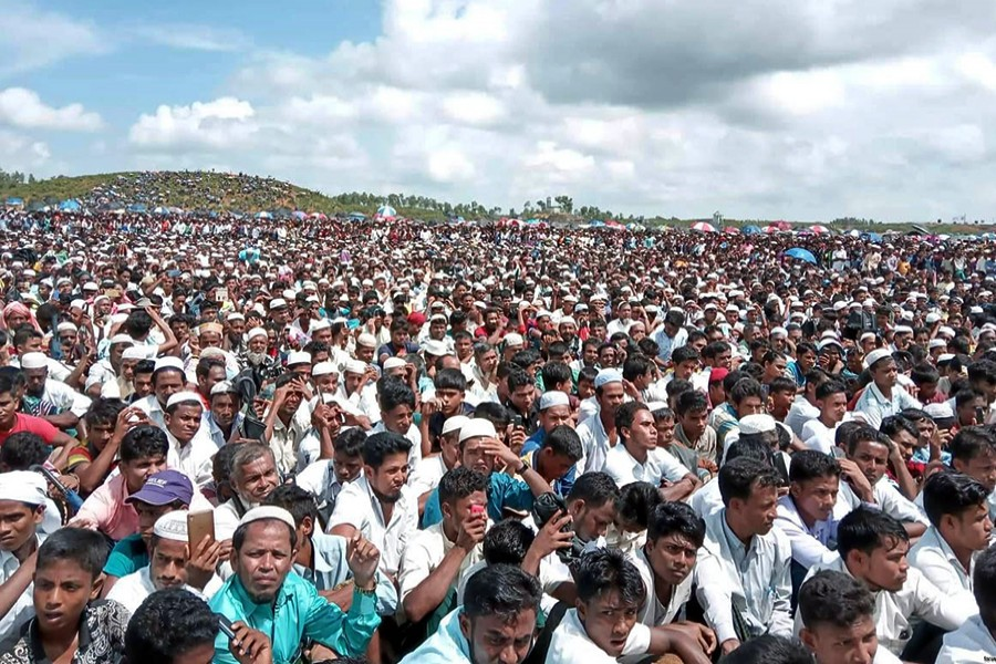 A rally of Rohingya people marking the second anniversary of the exodus held at the Kutupalong camp in Cox's Bazar on August 25 last — Focus Bangla/Files