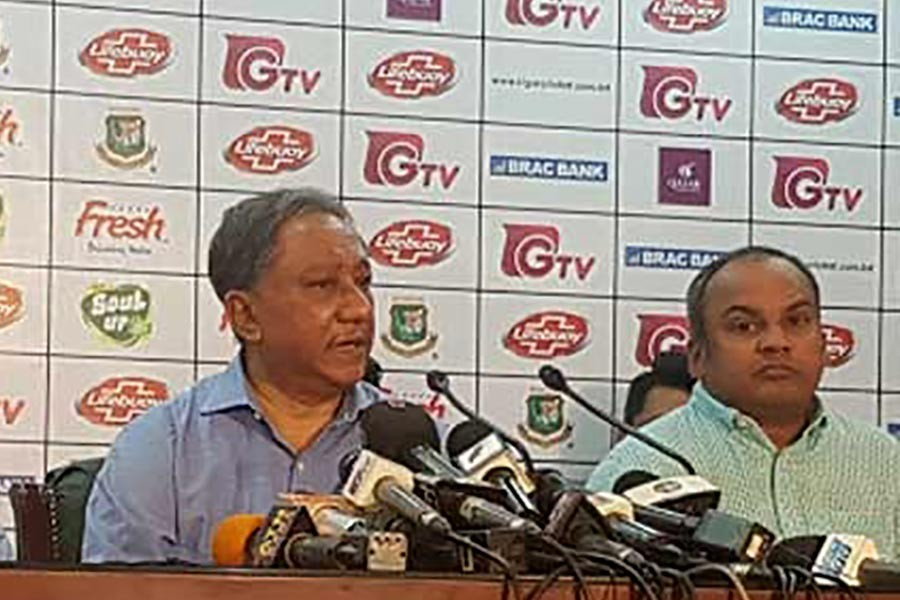 Bangladesh Cricket Board President Nazmul Hassan Papon addressing a press conference in Dhaka on Tuesday. -bdnews24.com photo