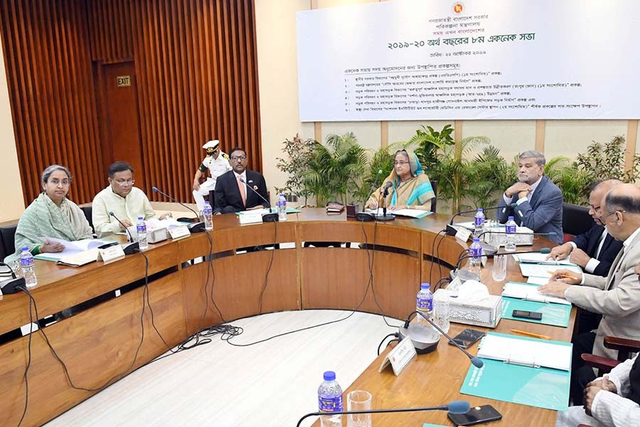 Prime Minister Sheikh Hasina presiding over the meeting of the Executive Committee of the National Economic Council (ECNEC) at the NEC Conference Room in the city's Sher-e-Bangla Nagar area on Tuesday. -Focus Bangla Photo