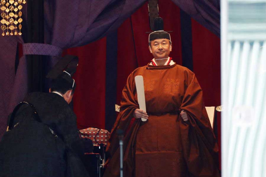 Japanese Emperor Naruhito proclaims enthronement in highly ritualised ceremony