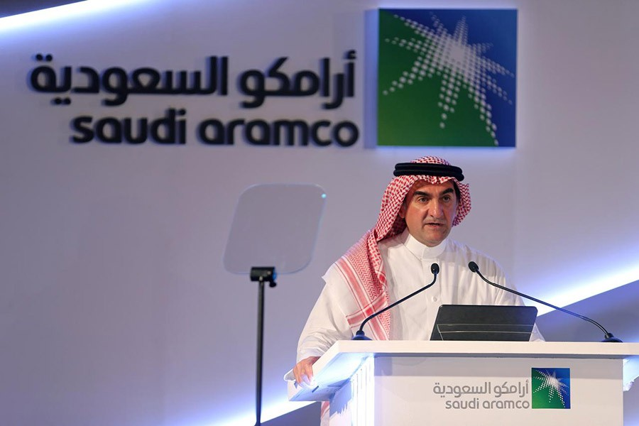 Yasser al-Rumayyan, Saudi Aramco's chairman, speaking during a news conference at the Plaza Conference Center in Dhahran in Saudi Arabia on Sunday. -Reuters Photo