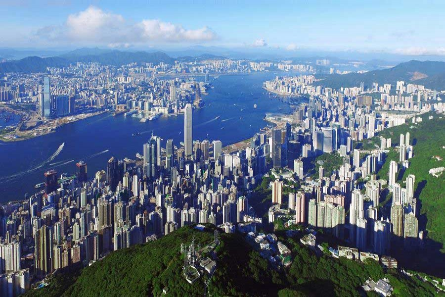 Aerial photo taken on June 27, 2017, shows the scenery on both sides of the Victoria Harbour in Hong Kong. (Xinhua/Lui Siu Wai)