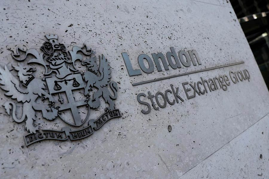The entrance of the London Stock Exchange in London, Britain