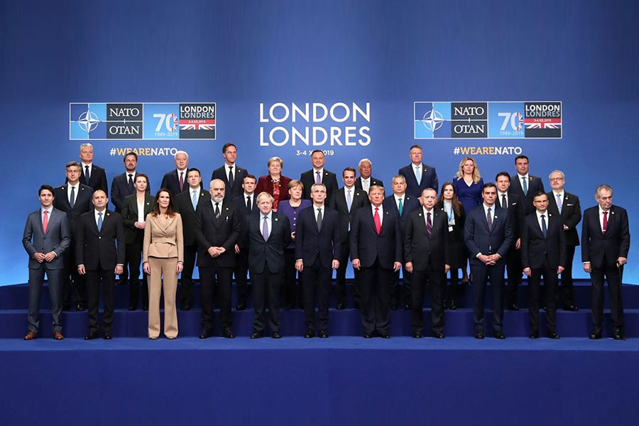 NATO leaders and Secretary General Jens Stoltenberg posing for the family picture at the NATO leaders summit in Watford, Britain December 4, 2019. -Reuters Photo