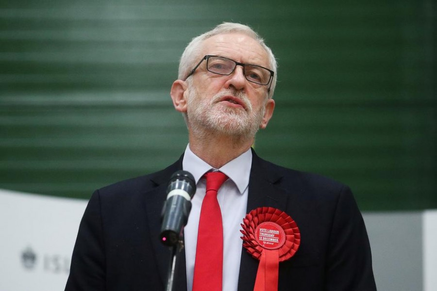Britain's opposition Labour Party leader Jeremy Corbyn speaks after the General Election results of the Islington North constituency were announced at a counting centre in Islington during Britain's general election, London, Britain, December 13, 2019. Reuters