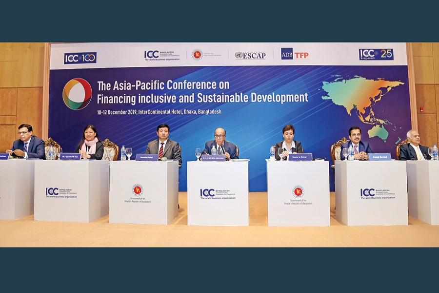Dr AB Mirza Azizul Islam (centre), former adviser to the caretaker government, addressing the plenary session on 'Innovative Finance to Achieve Inclusive and Sustainable Business and Investment: Capital Market Development, Blended Finance and FinTech' at a city hotel on Thursday