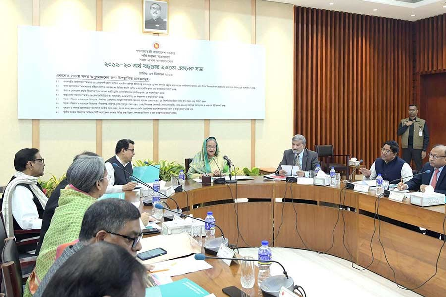 Prime Minister Sheikh Hasina presiding over the ECNEC meeting at NEC Conference room in the city on Tuesday. -PID Photo