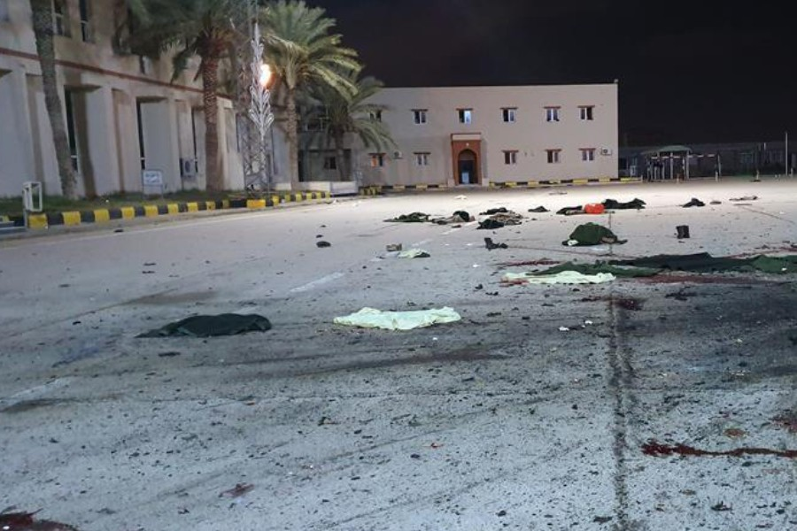 Photo taken on Jan. 4, 2020 shows the military academy hit by an airstrike in Tripoli, Libya. (Photo by Hamza Turkia/Xinhua)