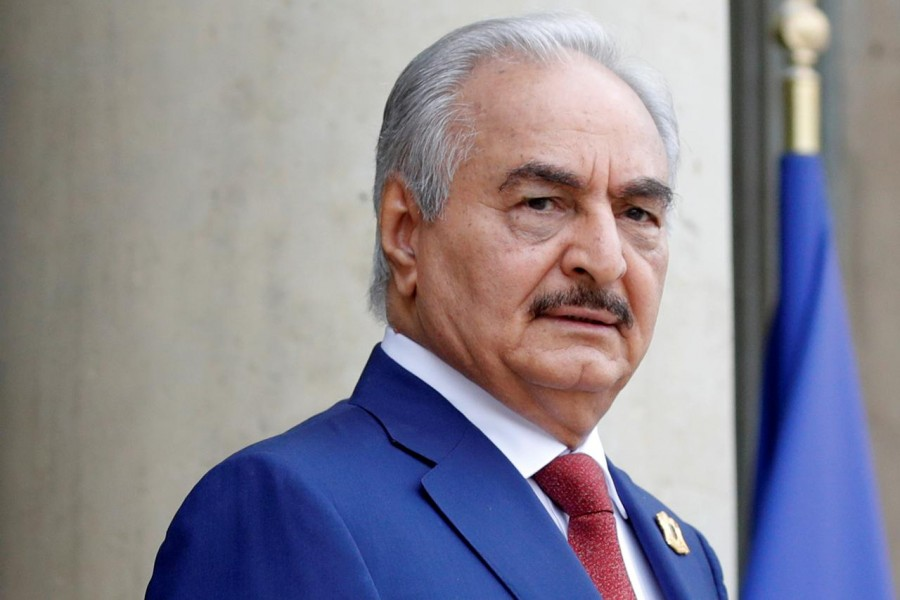 FILE PHOTO: Khalifa Haftar, the military commander who dominates eastern Libya, arrives to attend an international conference on Libya at the Elysee Palace in Paris, France, May 29, 2018. REUTERS/Philippe Wojazer/File Photo